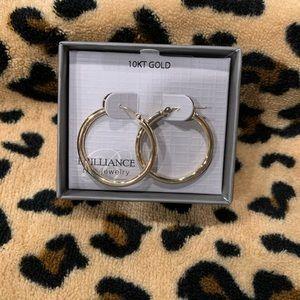 10K gold hollow hoop earrings